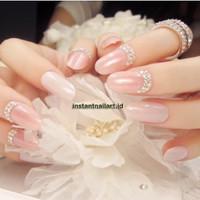 YT-003 Pink Instant Nail Art Rhinestone Kuku Palsu Fake Nails Party