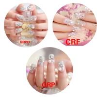 Wedding Fake Nail 3D Clear Rhinestone Flower Kuku Palsu Bunga