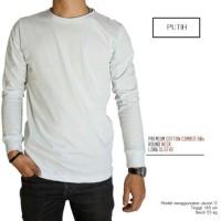 Kaos Polos Lengan Panjang Rib Putih 100 Cotton Combed 30S Pria dan wan