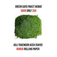 HIJAU GAYO ACEH 50 GR Paket Hemat BONUS ROLLING PAPER