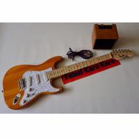 Gitar Fender Stratocaster Orange Paketan Siap Main