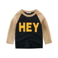Kaos T-Shirt Unisex Raglan Lengan Panjang Tulisan HEY
