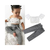 MG-2PCS Toddler Kid Baby Girl Summer Lace Tops Plaid Long Pants Outfit