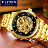 Jam Tangan Pria Motif Naga Mewah Luxury Gold Black Dragon Watch