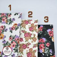 Bahan Kain Kanvas flower / Canvas Motif Vintage Bunga / Kembang Rose