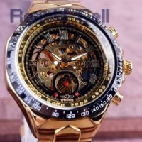 WINNER Jam Tangan Mechanical Analog Pria GMT886 1 Black Gold