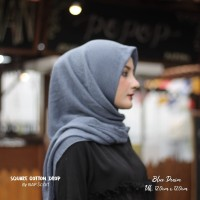 Hijab Square Cotton Drop Blue Denim
