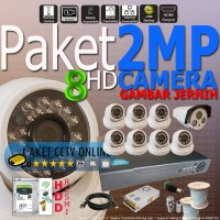 Paket HD 2MP CCTV Resolusi 1080 Camera HD DVR Hybrid 8 Channel