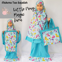 Mukena Anak Little Pony Magic Biru Tas Sajadah
