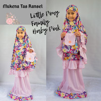 Mukena Little Pony Family Baby Pink Tas Ransel