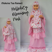 Mukena Anak Hello Kitty Blooming Pink Tas Ransel