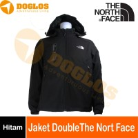 Jaket Double The North Face Gunung Hiking Travelling inner polar Hitam