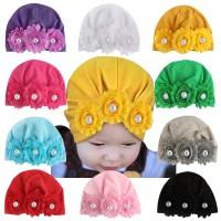 Newborn Baby Hat Floral Pearl Design Caps Infant Girls Boys Turban