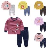 Autumn Baby Kids Girls Boys Cartoon Sleepwear Set Long Sleeve Pajamas