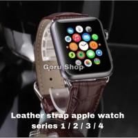 Strap leather apple watch iwatch series 5 4 3 2 size 38 40 42 44 kulit