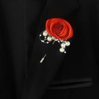 bros bunga artificial saku jas pengantin, korsase lapel tuspin tipe D