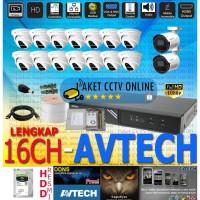 Paket CCTV Avtech 16 Channel Kamera 2MP FHD Lengkap Dipandu dan Resmi