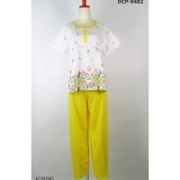 Baju Tidur Wanita Kaos Adem Celana Panjang - Kuning, Dcp-9482