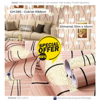 Wallpaper Coklat Ribbon - Wallpaper Stiker Dinding 45cm x 10m GH085
