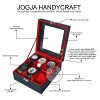 Kotak Jam Tangan Isi 6 Universal / Tempat Jam / Box Jam - Black Red