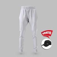Vallenca Celana Joger Pant Putih Polos Original Gratis Topi Keren