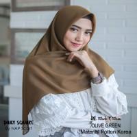 Hijab Daily Square Olive Green Potton Korea