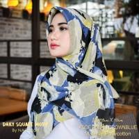 Hijab Daily Square Motif Crownblue Pollycotton PM 28
