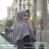 Hijab Khimar Khadijah Dark Grey Diamond Georgette Strech