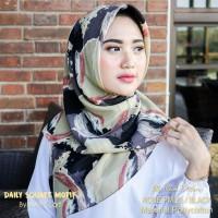 Hijab Daily Square Motif Black Pollycotton PM 28