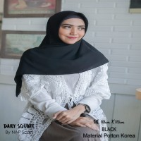 Hijab Daily Square Black Potton Korea