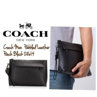 Coach Men Pebbled Leather Pouch Black