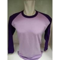 Kaos Raglan Panjang Ungu Muda Ungu Tua | Cotton Shirt | Kaos Polos |