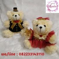 boneka beruang wedding couple pengantin souvenir lempar