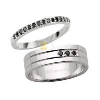Jual Cincin Kawin Tunangan Couple Perak 925 Batu Hitam Maluhia