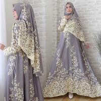 Gamis Muslim Wanita Maxmara Syari Warna Abu Tua