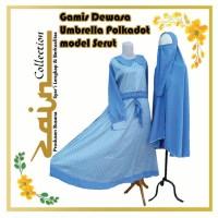 Gamis Dewasa Umbrella Polkadot Model Serut warna Biru