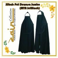 Jilbab Pet Dewasa (Jumbo) warna Hitam JetBlack