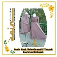 Gamis Anak Umbrella Model Tumpuk komb Polkadot