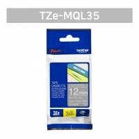 Brother Label TZE-MQL35 White on Light Gray Tape 12mmx5m TZEMQL35