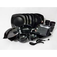 Yang Baru .... Paket New Black Elegant 1 Set Peralatan Makan Melamin G