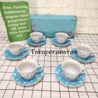 TOKOPERABOTAN Packing Kayu Cangkir Set Kopin Motif Bunga Tea Set Bunga
