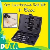 Mata Bor Countersink 7pcs Dengan Box Hitam HSS Drill Bit Set