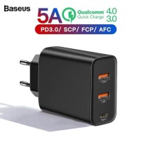 BASEUS Adaptor Charger PPS 60W 5A Quick Charging 3.0 2 USB + TYPE C