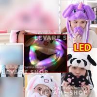 Bunny Hat Topi Kuping Gerak Kelinci Unicorn Panda bisa Nyala Lampu LED