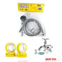 PAKET 1 Shower mandi ASLI ONDA SO 244 + Kran double K 406 + Seal tape