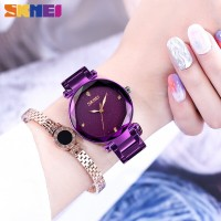 Jam Tangan Wanita SKMEI 9180 Quartz Luxury Ladies Simple Casual Stainl