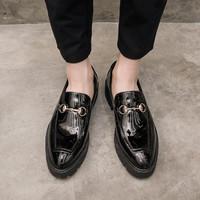 sepatu kulit pria Leather Trendy Loafers-033 black