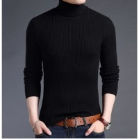 Sweater Rajut Jalur Turtle Neck Cotton