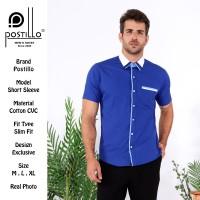 Kemeja Fashion Kombinasi Lengan Pendek Postillo