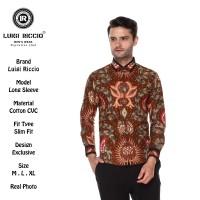 Kemeja Batik Pria| Luigi Riccio| Lengan Panjang Coklat
